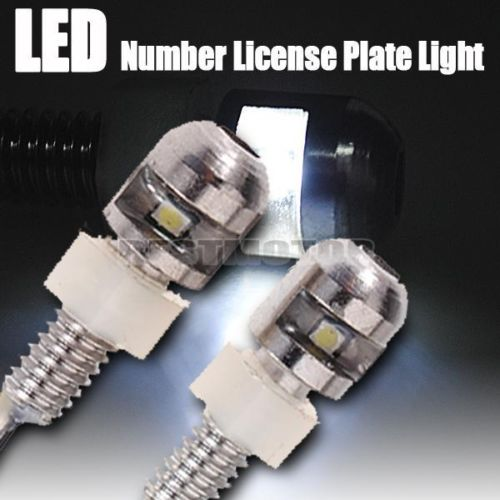 2x 12V Universal LED License Plate Light Bolt Bulb Lamp Chrome Motorcycle Car