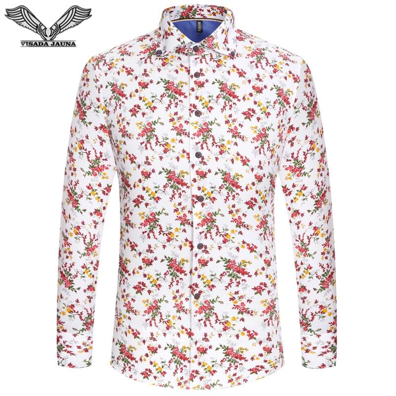 VISADA JAUNA 2017 New Arrivals Camisa Dos Homens Casual Mens Shirt Print Algodao Slim Fit Camisas De Vestido Masculino 5XL N5816