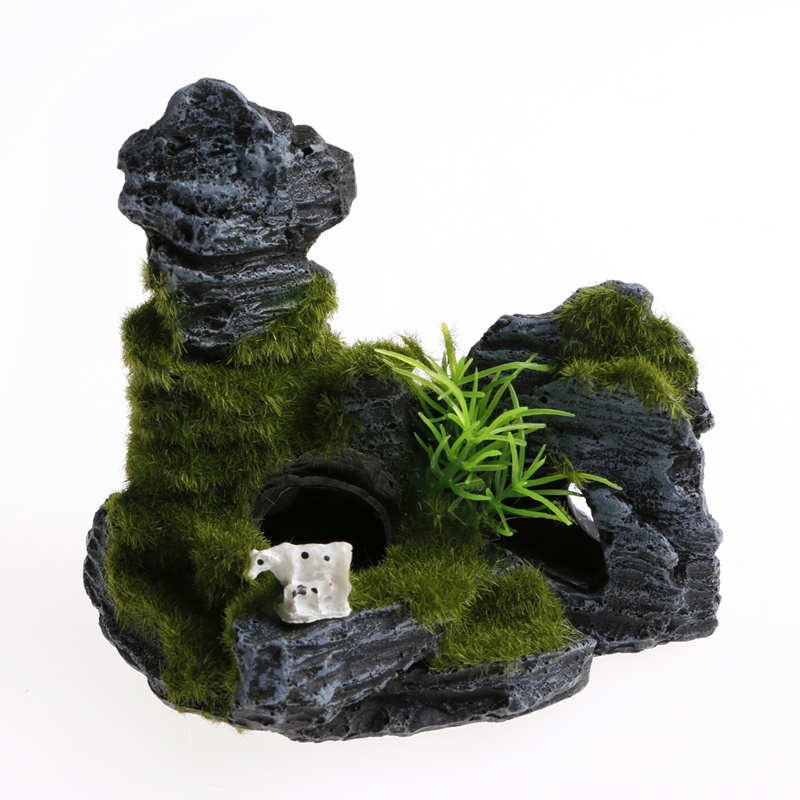 New Resin House Fish Tank Shelter Aquarium Moss Ornament Rockery Decoration in Decorations from Home Garden