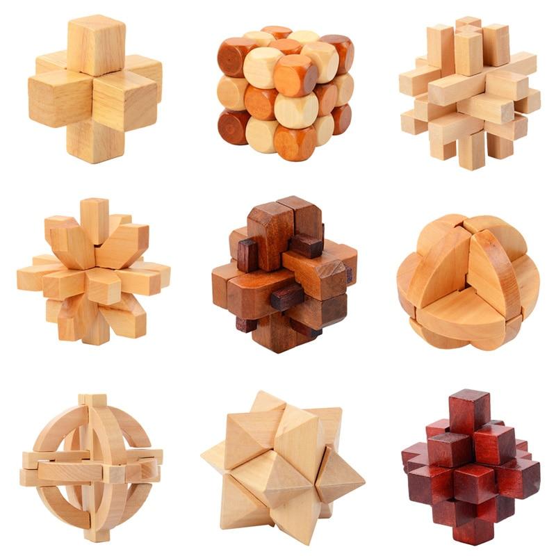 IQ Brain Teaser Kong Ming Lock Lu Ban Lock 3D Wooden Interlocking Burr Puzzles Game Toy For Adults Kids 1
