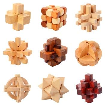 IQ Brain Teaser Kong Ming Lock Lu Ban Lock 3D Wooden Interlocking Burr Puzzles Game Toy For Adults Kids
