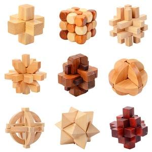 IQ Brain Teaser Kong Ming Lock Lu Ban Lock 3D Wooden Interlocking Burr Puzzles Game Toy For Adults Kids(China)