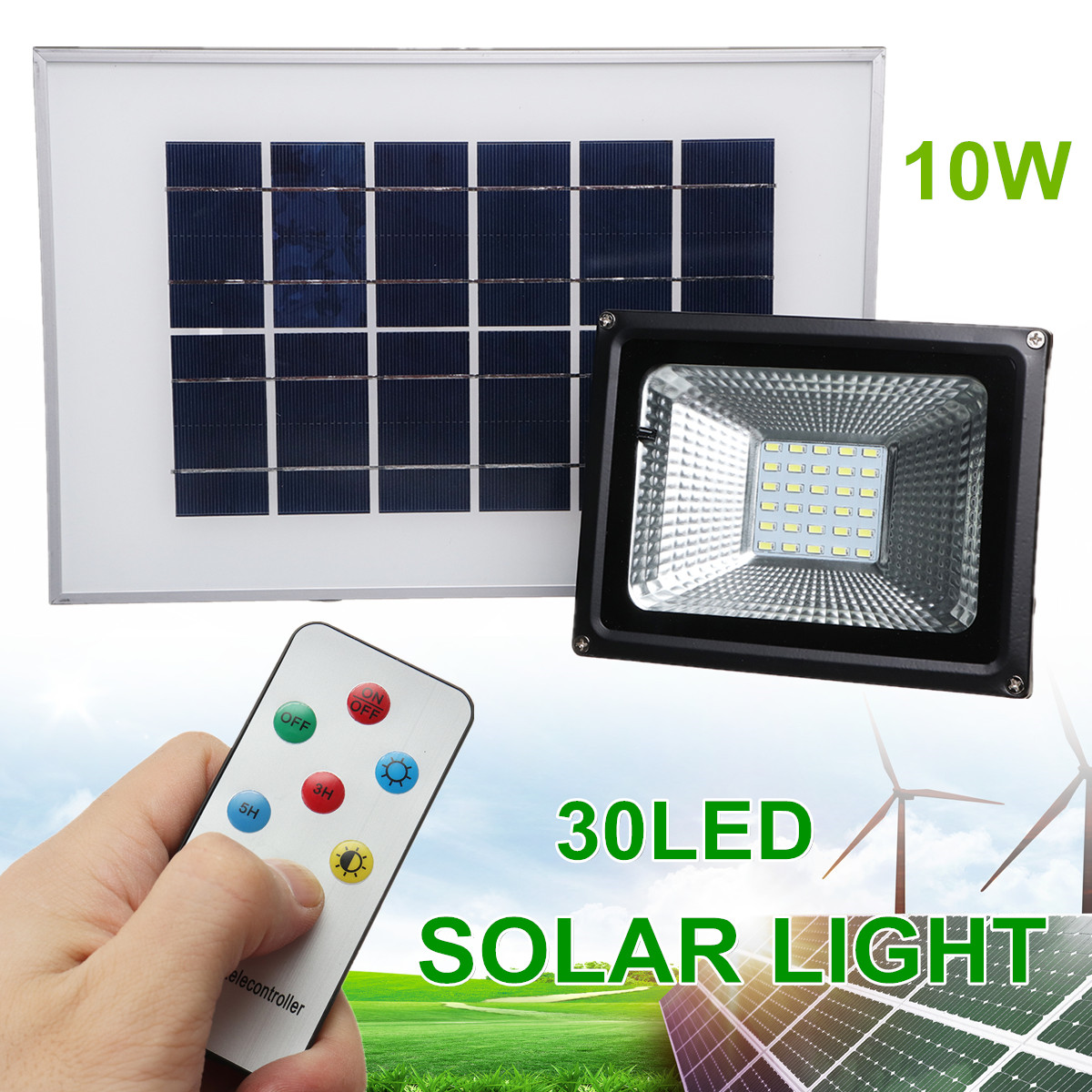 Outdoor Garden 10W 30 LED Solar Power Flood Light Remote Control Lawn Lighting Lamp Reusable Super Bright Intelligent Sunlight цена 2017