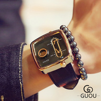 GUOU Brand Futuristic Fashion Trendy Casual Leather Strap Square Watches Male Men Magic Watch Military Quartz Men's Wristwatch