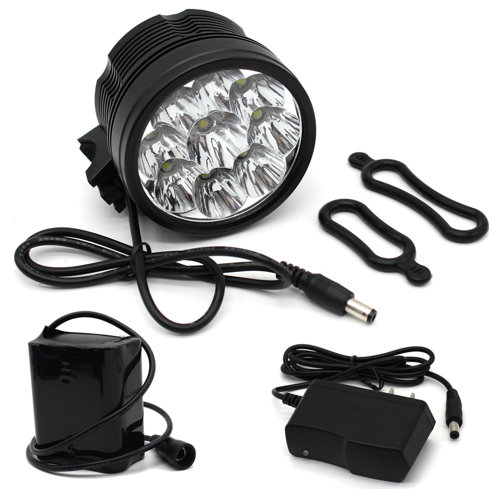 все цены на 18000 Lumen Mountain Bike Light Headlight XM-L T6 Bicycle Front Light Waaterproof MTB Cycling Lamp 8.4V 18650 Battery Pack Torch онлайн