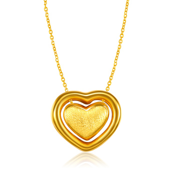 XXX 24K Pure Gold Necklace Real AU 999 Solid Gold Chain Trendy Nice Beautiful Double Hearts Upscale Party Jewelry Hot Sell New 3