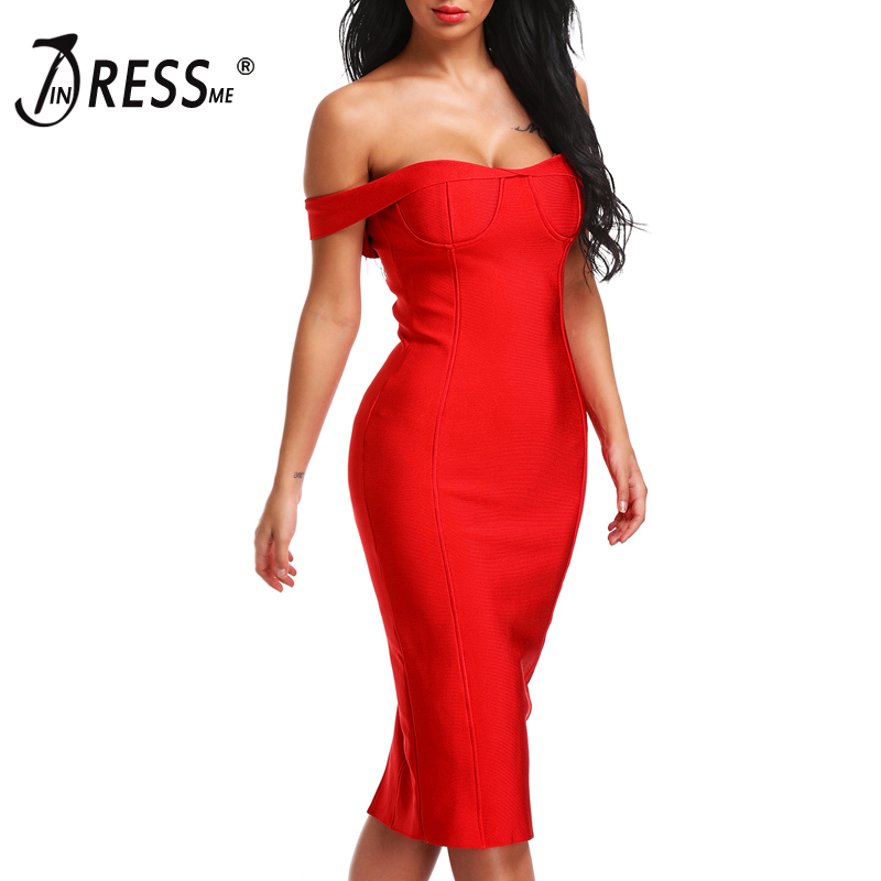 INDRESSME 2017 Off the Shoulder Backless Bandage Dress Black Red Sexy Club Sheath Bodycon Party Dresses