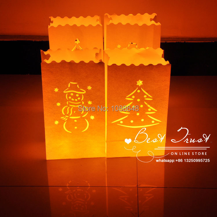 New 1000pcs Lot Flame Ant Paper Candle Bags Luminary Lantern Bag For Christmas Wedding Party Year Decorations In Lanterns From Home Garden