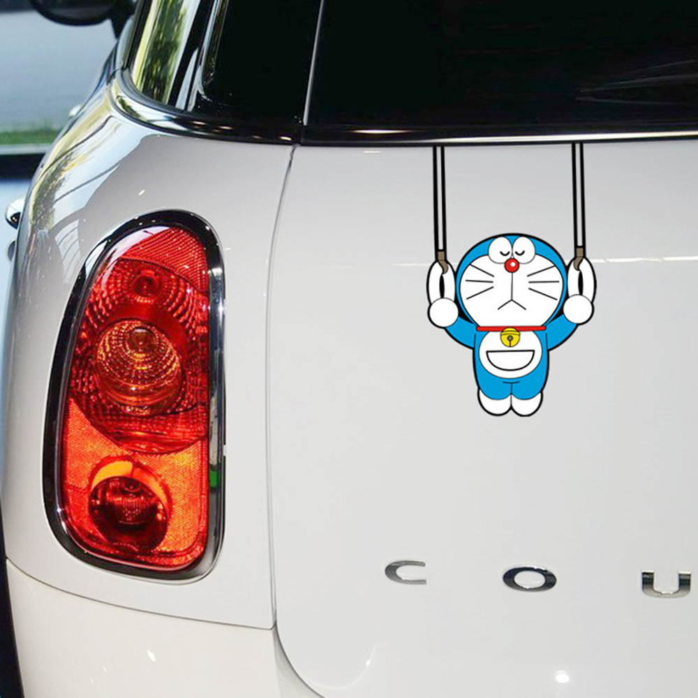 Car-styling Doraemon Gymnastics Funny Car Sticker Decal Cartoon Accessories For Volkswagen Polo Golf Opel Peugeot Kia Honda