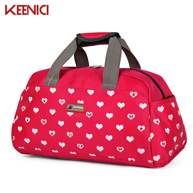 Unisex Waterproof heart print Women's travel bags for women nylon casual bag casual Handbags pouch tote bolsa viagem Female