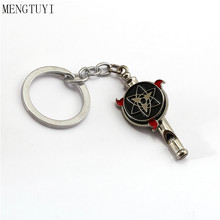 Anime Jewelry Naruto Kunai Kakashi Keychain Metal Whistle Turn Key Ring