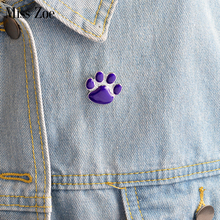 Purple Dog paw pin Cute Cartoon brooch Cat Kitten Paw Brooch Pins Puppy claw Badge Gift Jewelry for pet owners dropshipping