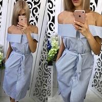 Women-Casual-Blue-Striped-Off-The-Shoulder-Party-Dress-Sleeveless-Straight-Knee-Length-Vintage-Dress-2018-Summer-Women-Dresses-2