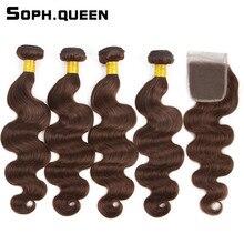 Soph queen Hair Pre-Colored #4 Brazilian Body Wave 4 Bundles With Closure 100% Human Hair  Hair Weave Bundles