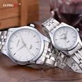 Alta Calidad Mujeres Hombre Relojes Completa de Acero Inoxidable Resistente Al Agua de Los Amantes Parejas Relojes Señoras Reloj Reloj de Los Hombres Relojes