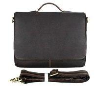 Для мужчин ШОКОЛАД портфели через плечо сумка кожа коровы коричневый Бизнес путешествия Винтаж сумка для ноутбука 15 Большой сумки