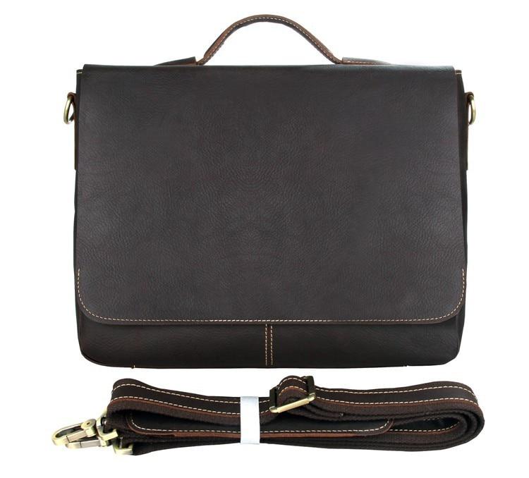 Men's Chocolate Briefcases Cross Body Bag Handbag Messenger Cow Leather Brown Business Travel Vintage Tote Laptop 15 Big Bags