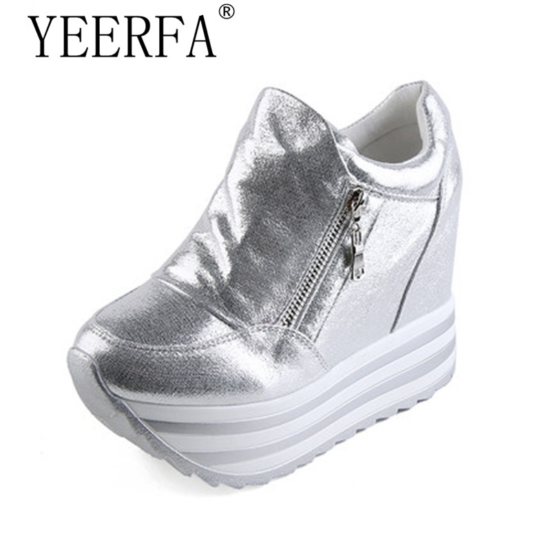 Fashion brand Spring Women high wedge casual shoes Female 12CM Increased Height Shoes Woman Platform Loafers Canvas Single Shoes e toy word canvas shoes women han edition 2017 spring cowboy increased thick soles casual shoes female side zip jeans blue 35 40
