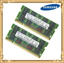 Samsung แล็ปท็อปหน่วยความจำ 4GB 2x2GB 667MHz PC2 5300 DDR2 โน้ตบุ๊ค RAM 4G 667 5300S 2G 200 PIN SO DIMM จัดส่งฟรี