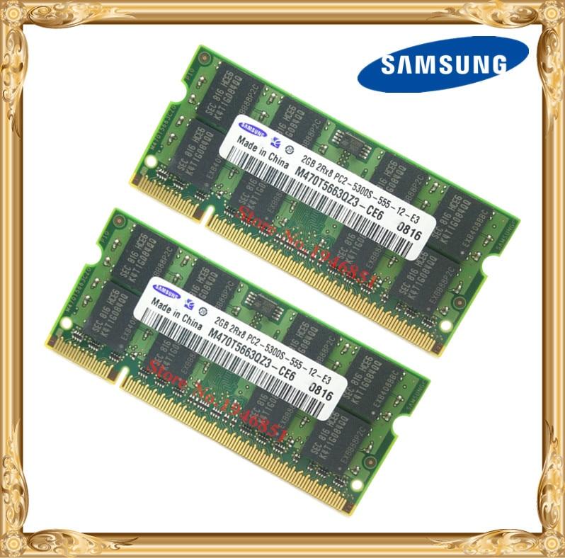 Samsung portátil memória 4 gb 2x2 gb 667 mhz PC2-5300 ddr2 notebook ram 4g 667 5300 s 2g 200-pino SO-DIMM frete grátis