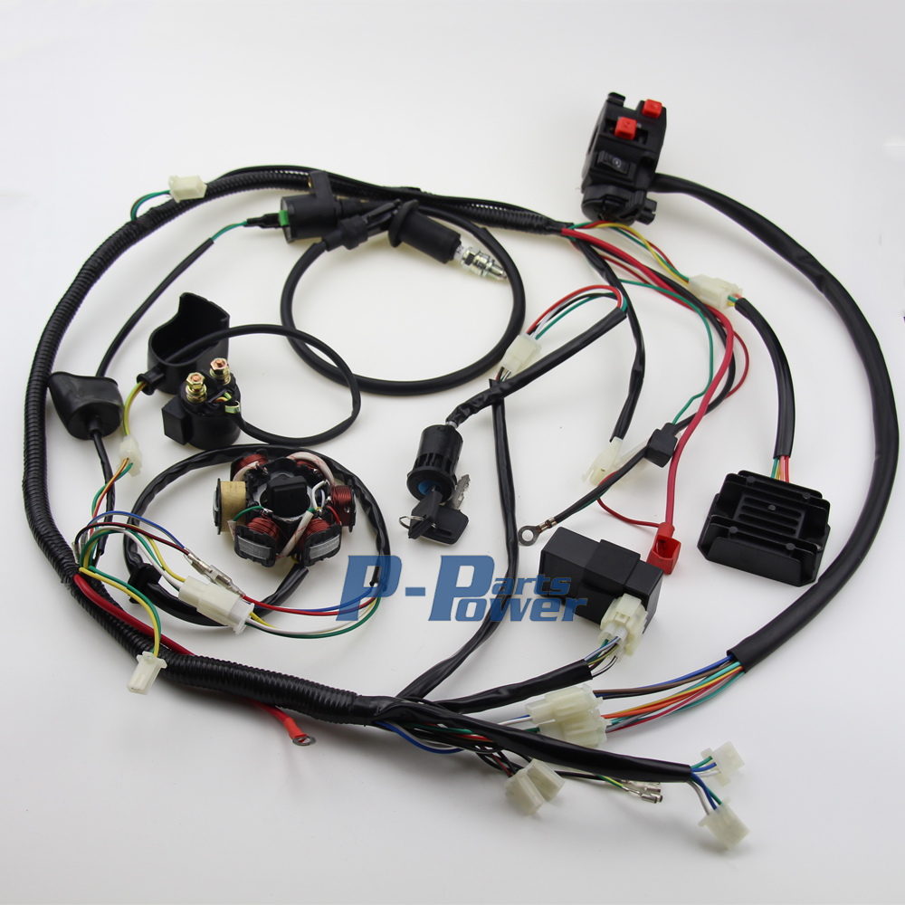 popular gy6 wiring harness buy cheap gy6 wiring harness lots from wire loom harness solenoid 6 coil magneto stator coil regulator cdi wiring assembly for gy6 150cc