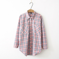 Dioufond Women Plaid Shirts Loose Korean Style Shirt Casual Pockets Autumn Tops Long Sleeve Clothing Female