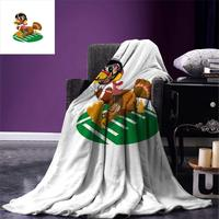 Turkey Throw Blanket American Football Playing Funny Bird and Thanksgiving Day Celebrations Theme Pigskin Microfiber