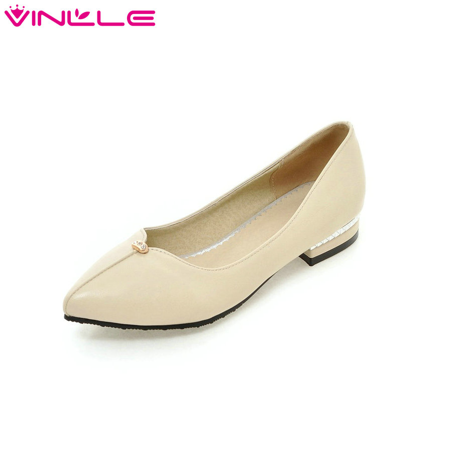 Concise Dating White Women Shoes Thick Heel Summer Woman Pumps PU Pointed Toe Rhinestone Slip on