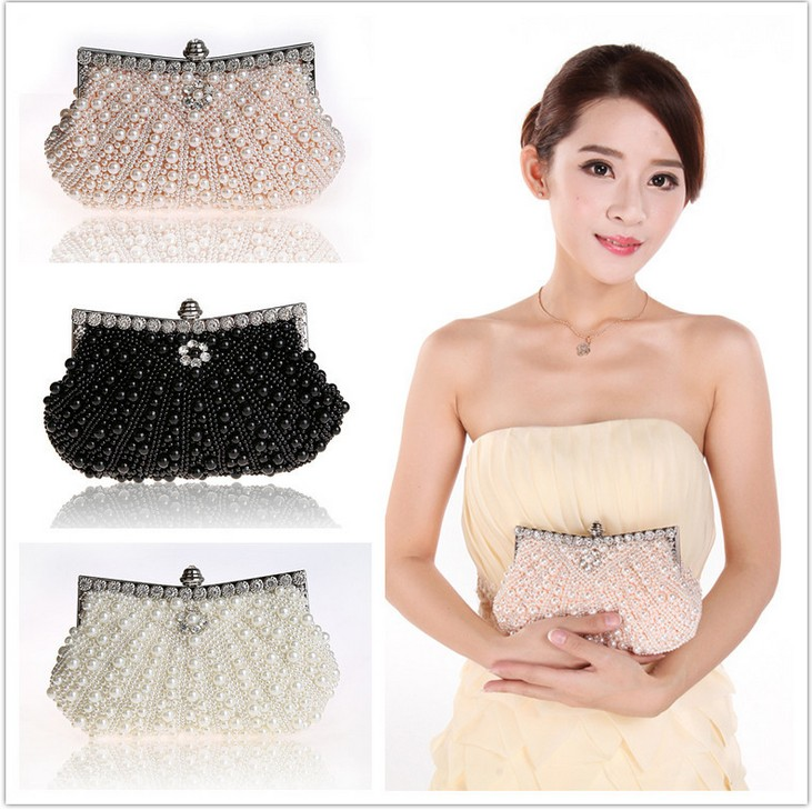2017 Women Clutch evening bags wallet Full pearl Crystal beaded handbags Clutch Chain clutch shoulder bag evening clutch bag wood rectangle chain wallet travel shoulder