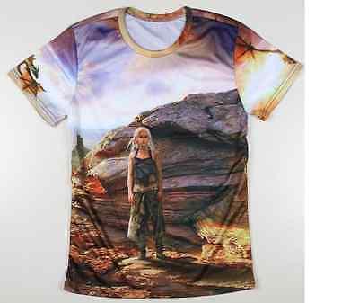 New Sexy Women Khaleesi 3D Men Printed T-Shirt Blonde Hair Game Of Thrones Targaryen 5XL