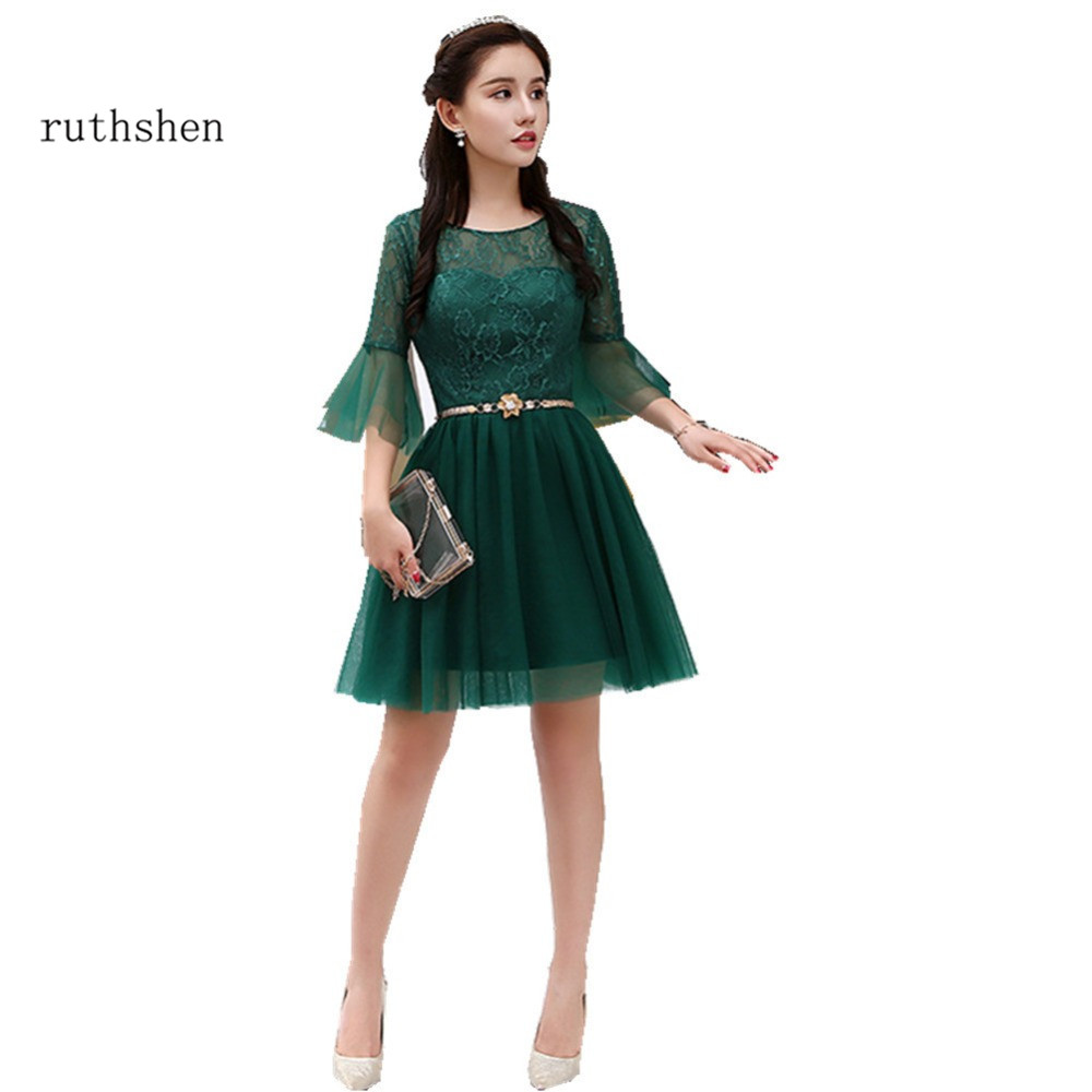 ruthshen Short Prom Dresses 2018 New Arrival Vestidos Festa Curto Cheap Half Sleeves Formal Cocktail Party Dress