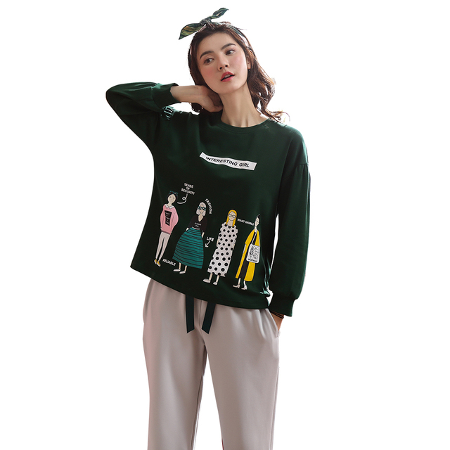 cf296a9d52e3 Autumn Cotton Pajamas for Women 2 Pieces Ladies Home Sleeping Clothing Long  Pant Dark Green Sports Leisure Wear pyjama pigiama