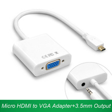 Micro HDMI to VGA Converter Micro HDMI VGA male to female Adapter + 3.5mm Audio Cable V1.4 HD 1080P For HDTV monitor projector