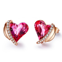 2019 Baffin Romantic Pink Angel Rose Gold Heart Stud Earrings Crystals from Swarovski For Women Red Gifts For Girlfriend/Mother