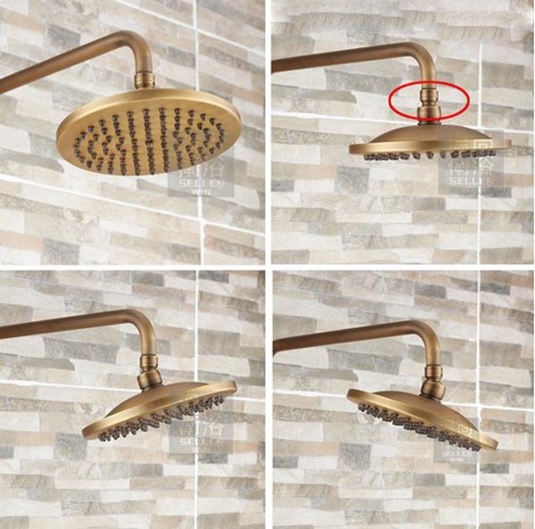 Antique Brass Bathroom Rain Shower Set Faucet Wall Mount Mixer Tap With  Handheld Shower Head In Shower Faucets From Home Improvement On  Aliexpress.com ...