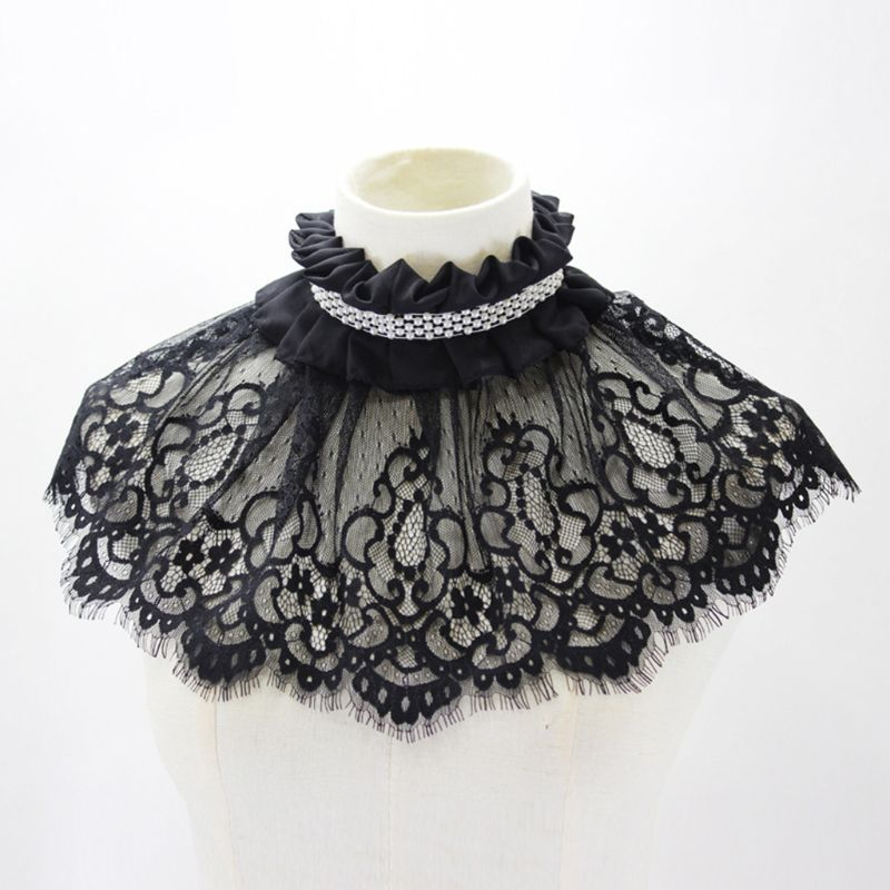 Women Hollow Out Embroidered Floral Lace Wedding Shawl Bolero Ruffle Pleated High Neck Fake Collar Pearl Bridal Shrug Detachable
