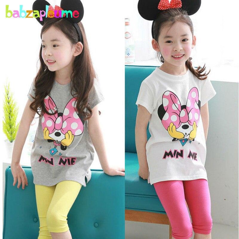 Summer Toddler Girls Clothes Cotton Children Girl Tracksuit Kids Cartoon Mouse T-shirts+Shorts 2pcs Infant Clothing Set BC1146