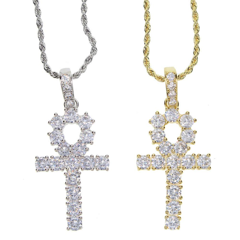 Naszyjnik dla kobiet mężczyzn kamień krzyż urok wisiorek łańcuch naszyjniki i wisiorki Hip Hop moda biżuteria 60 cm