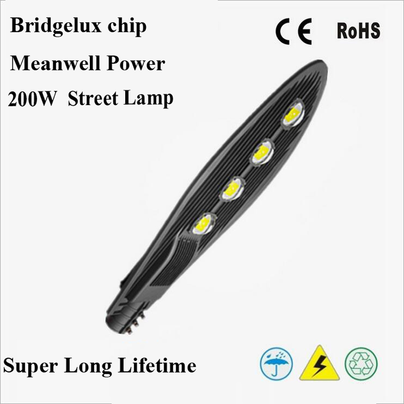 AC85 265V IP65 3year warranty 200W Bridgelux chip Meanwell Power high power led street light 130