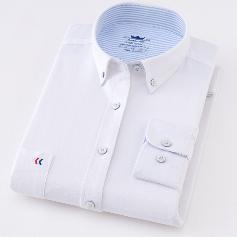 Image 4 - Mens Oxford Solid Pure color 100% Cotton Business Casual Shirt Men Top Sell High Quality Classic Design Mens Dress ShirtsDress Shirts   -