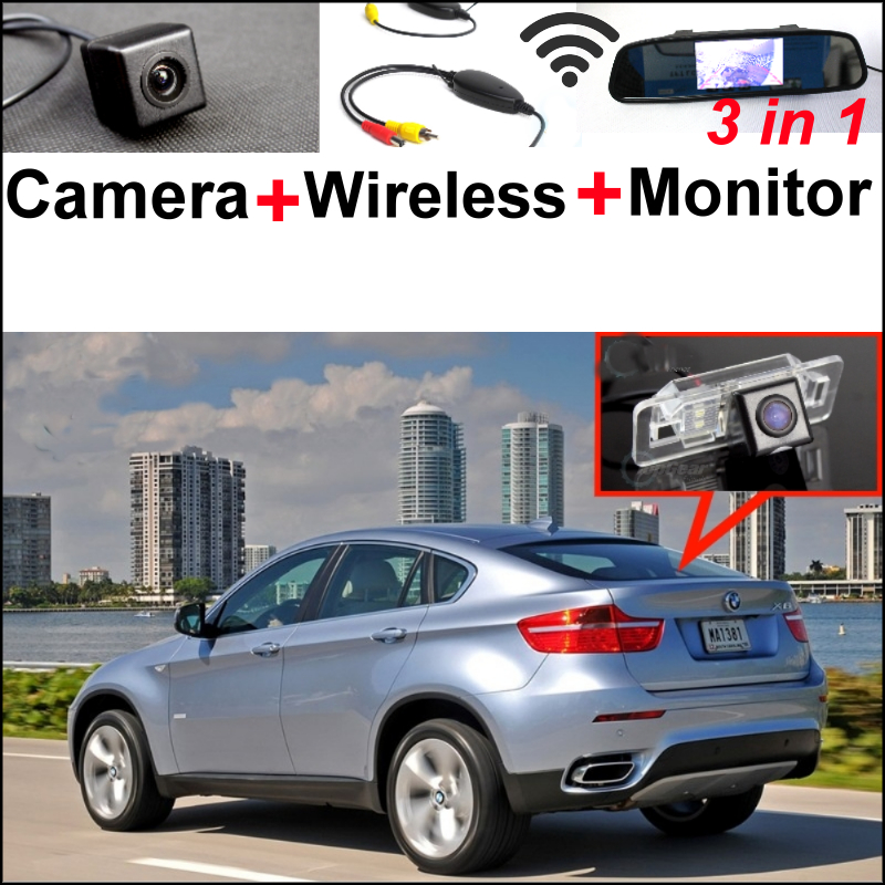 Special Rear View WiFi Camera + Wireless Receiver + Mirror Screen DIY Rear View Parking Backup System For BMW X6 E71 3in1 diy for lexus gx470 2002 2009 wireless wifi bluetooth backup rear view reverse rearview camera camara