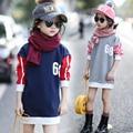 3 5 7 9 11 13 Лет 2016 Зима Рождество детская Футболка Повседневная Теплый Толстовка Для Девочек Детская Одежда Дети одежда
