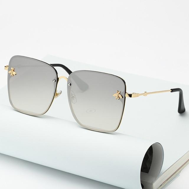 Gafas de sol cuadradas de abeja sin montura para mujer y hombre, anteojos de sol femeninos de gran tamaño con gradiente de abeja, con UV400, 2021 2