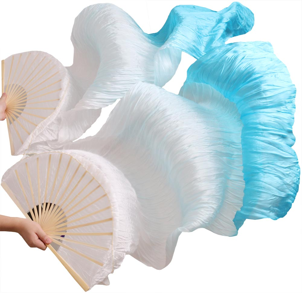 2016 female high quality Chinese silk veils dance fans Pair of belly dancing fans cheap hot sale White+light turquoise+turquoise