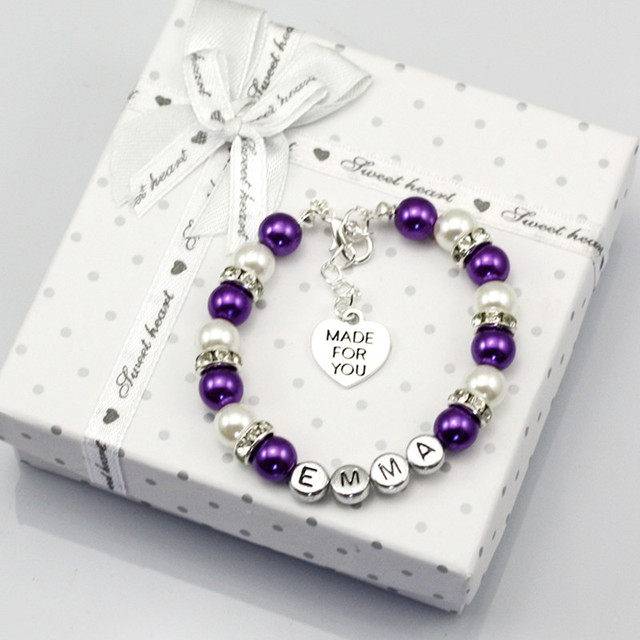 Baby Name Personalised Girl Birthday Gift Charm Bracelet With Box