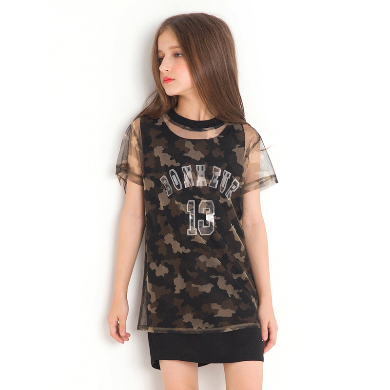 2018 New Girls Summer Camouflage Mesh Girl A-line Dress Loose Short Sleeve Print Big Army A line Vestidos for Teenagers