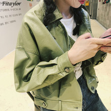 Fitaylor Autumn Faux Leather Jacket Turndown Collar Women Loose Long Sleeve Single Breasted Motorcycle Leather Coats(China)