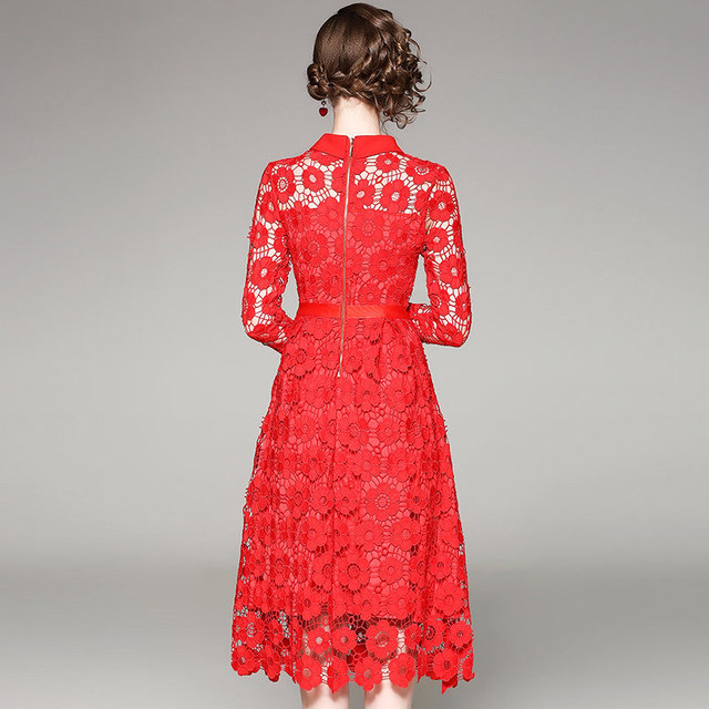Hollow Out Crochet Embroidery Lace Dress