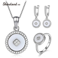 Shineland 925 Sterling Silver Jewelry Sets Round White Black Ceramic Drop Earrings Necklace Ring For Women Colar Wedding Gift
