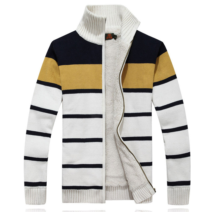 Bright 2018 Striped Style Thicken Winter Warm Wool Liner Afs Jeep Sweater Coat Outwear Fashion Mens Winter Clothing Cardigan 99 Large Assortment Sweaters